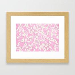 Shabby Chic pink damask Framed Art Print