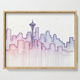 Seattle Skyline Watercolor Serving Tray