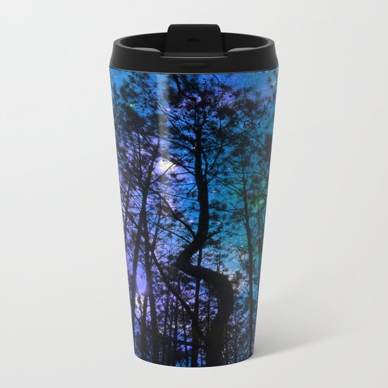 Black Trees Teal Purple Space Metal Travel Mug