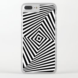 Op art rotating square in black and white Clear iPhone Case