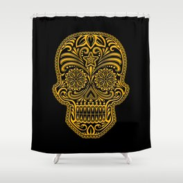 Intricate Yellow and Black Day of the Dead Sugar Skull Shower Curtain