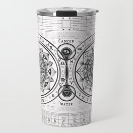 "Cancer ""Water Sign"" Mandala Zodiac Chart Travel Mug"
