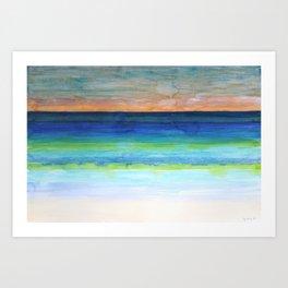 White Beach at Sunset Art Print