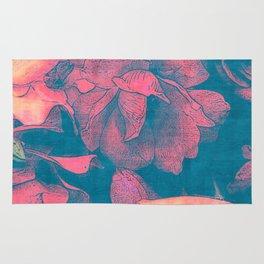 Rose Garden Blue 3- Texture Rose Study in red peach scarlet indigo Rug