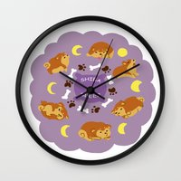 shiba Wall Clocks featuring Shiba Sleep by Sae Souki