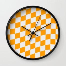 Orange & White Wavy Checkers Wall Clock