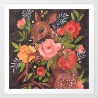 oana befort Art Prints featuring FAWN & FLORA by Oana Befort