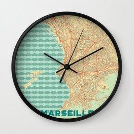 Marseille Map Retro Wall Clock