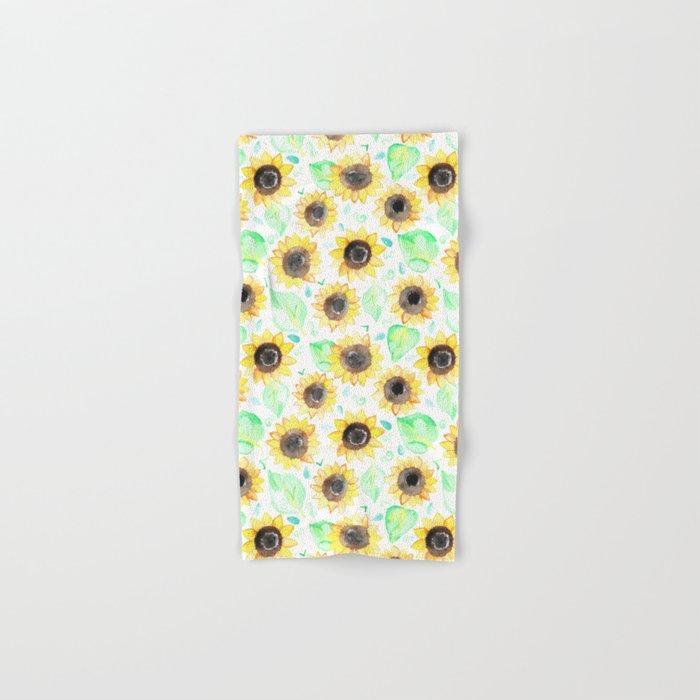 Cheerful Watercolor Sunflowers Hand & Bath Towel