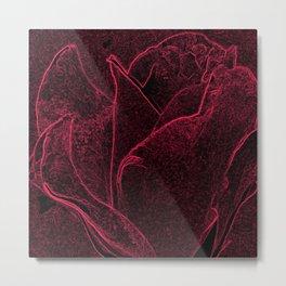 Gothic Rose in Black and Scarlet Metal Print