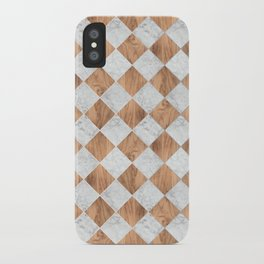 Cubic Wood & White Marble #892 iPhone Case