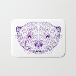 Otter Head Lightning Bolt Drawing Bath Mat