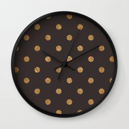 Dark Lava Gold Glitter Dot Pattern Wall Clock
