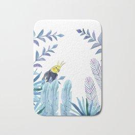 Cockatiel with tropical foliage Bath Mat