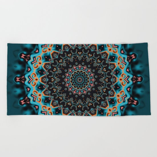 Colorful mandala Beach Towel