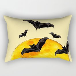 BLACK FLYING BATS FULL MOON ART Rectangular Pillow