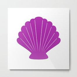 Seashell (Purple & White) Metal Print