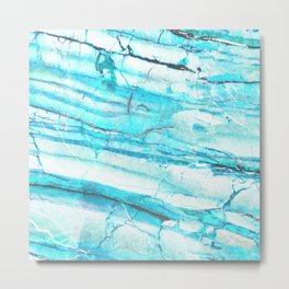 White Marble with Blue Green Veins Metal Print