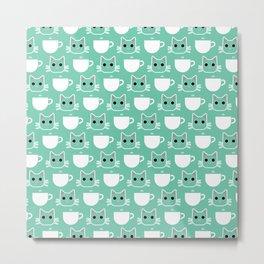 'Cat and Coffee Mug Pattern' (Teal) Metal Print
