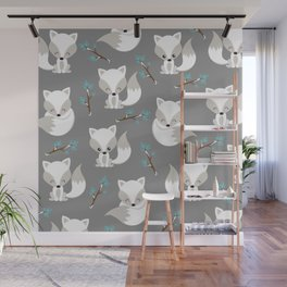 ARCTIC FOXES ON GREY Wall Mural