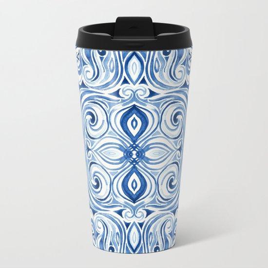 Indigo Blue Watercolor Swirl Pattern Metal Travel Mug