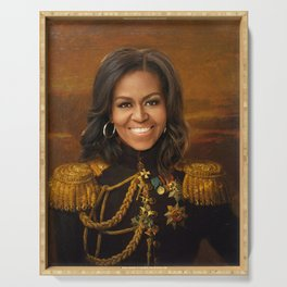 Michelle Obama Poster, Classical Painting, Regal art, General, First Lady, Democrat, Political Serving Tray
