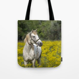 Gray Horse in a Field of Yellow Mustard Tote Bag