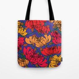 Flowery Pattern Blue Magenta Tote Bag