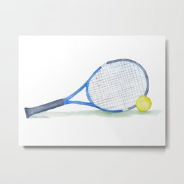 Tennis Racket and Tennis Ball Watercolor Metal Print
