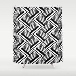 Zig-Zag Black & White Shower Curtain