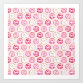 Pink Donuts Pattern on a pink background Art Print