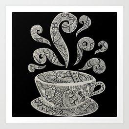 But first, Coffee - tea coffee lover zentangle Art Print