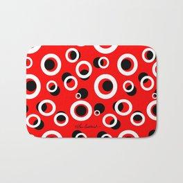 Red White Black Circles Bath Mat
