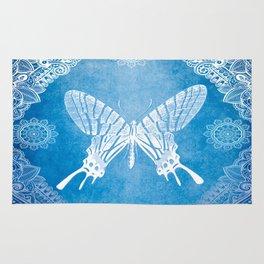 Bohemian Ornamental Butterfly Deep Blue Ombre Rug