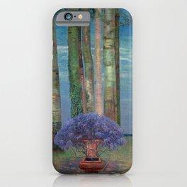 Wysteria Fountain And Poplar Trees by Emilie Mediz-Pelikan iPhone Case