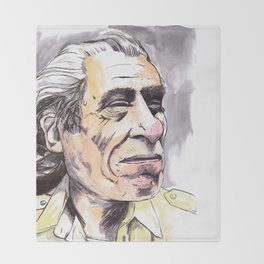 Charles Bukowski portrait in watercolor and ballpoint by McHank Throw Blanket