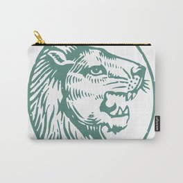 Lions Head Teal Carry-All Pouch