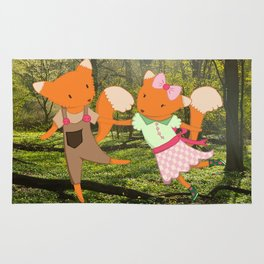 Two Foxes walking through the Forest Rug