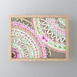 Mandalas indigo watercolor and flowers Framed Mini Art Print