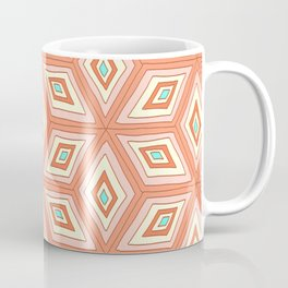 Living Coral Tilted Cubes Pattern Coffee Mug