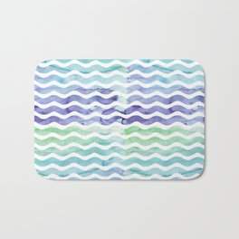 Modern teal blue watercolor hand painted waves Bath Mat