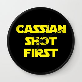 Cassian Shot First Yellow - Rogue One Wall Clock