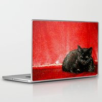 sofa Laptop & iPad Skins featuring cat on red sofa by ANArt