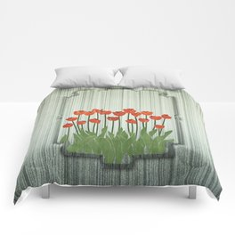 Orange Tulips Comforters