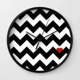 Heart & Chevron - Black/Classic Red Wall Clock