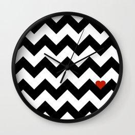 Heart & Chevron - Black/Classic Red Wall Clock