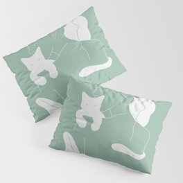 Girl with White Cat, Mint Color / Line Art Pillow Sham