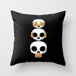 Cute Skulls No Evil II Throw Pillow