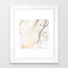 New York City White on Gold Framed Art Print