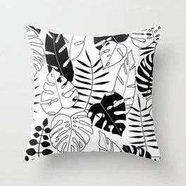 black and white tropical minimal leaves poster Throw Pillow